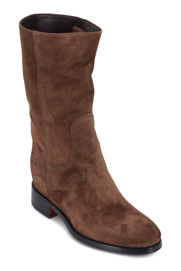 Santoni Hermione Brown Suede Mid Calf Boot