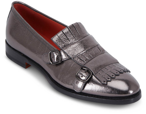 Santoni Marlene Metallic Gunmetal Leather Kiltie Loafer
