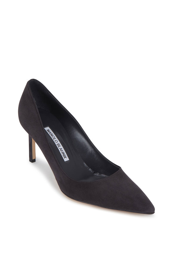 Manolo Blahnik Lisa Dark Gray Suede Pump, 70mm
