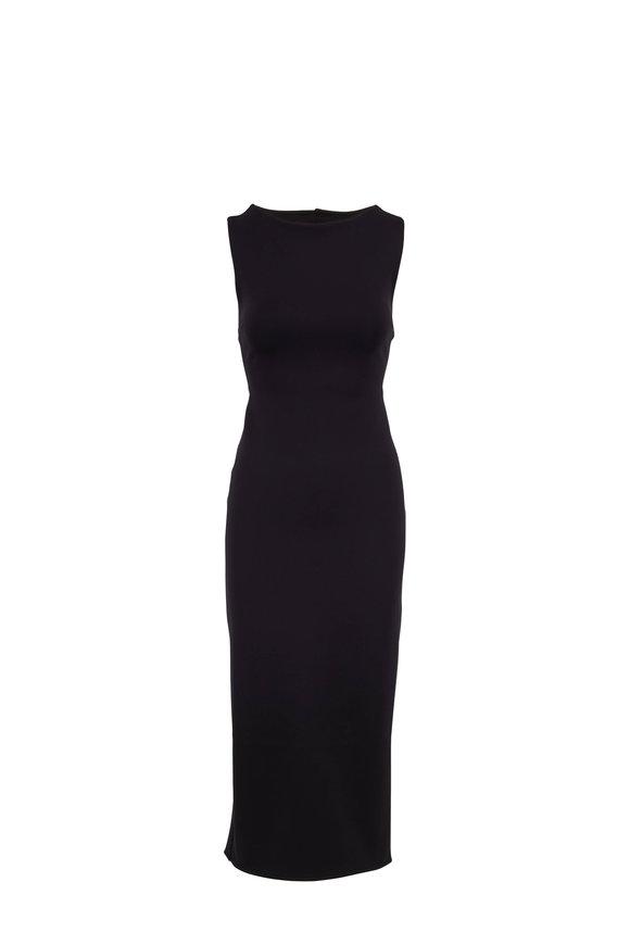 The Row Erin Black Scuba Sleeveless Midi Dress