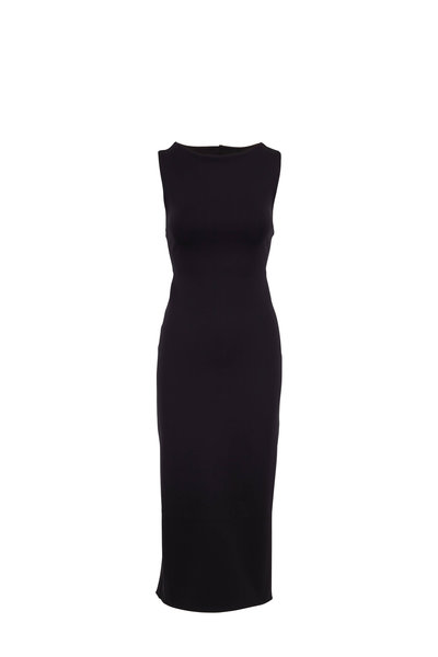 The Row - Erin Black Scuba Sleeveless Midi Dress