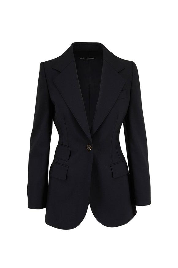 Dolce & Gabbana Black Stretch Wool Single Button Blazer