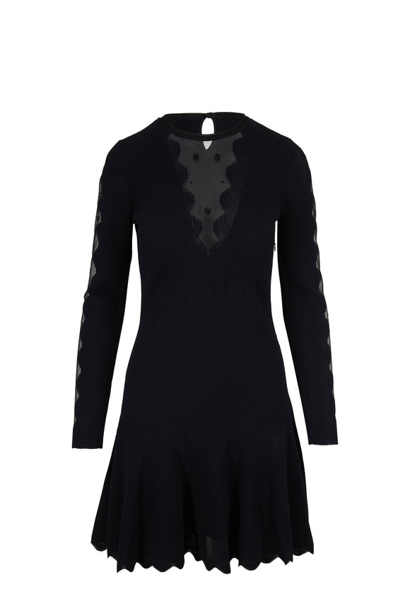 Alexander McQueen Black Ottomon Knit Sheer Long Sleeve Dress