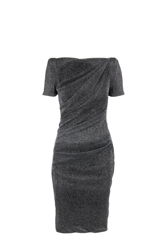 Talbot Runhof Sonatina1 Charcoal Gray Sparkle Short Sleeve Dress
