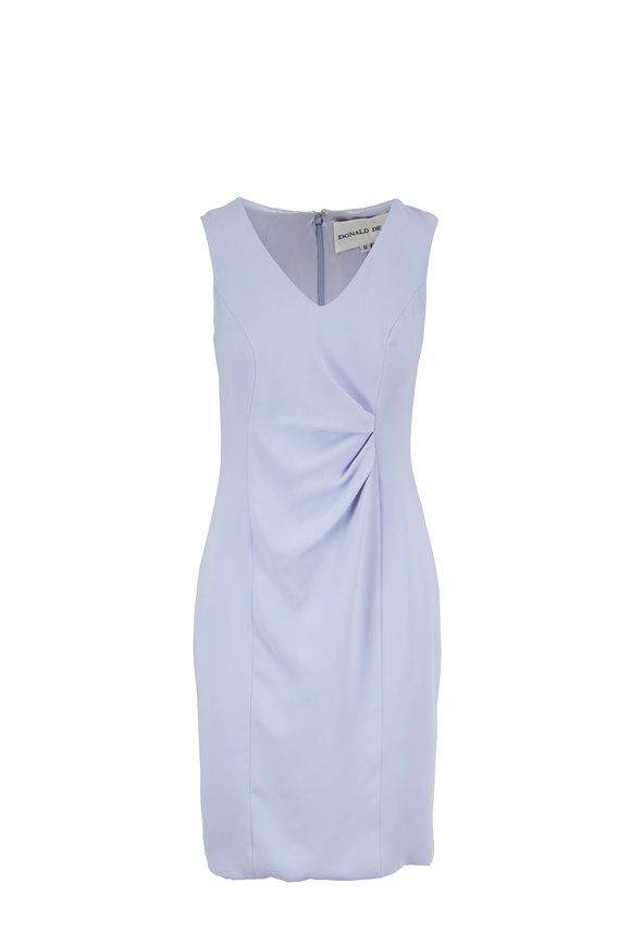 Donald Deal Lilac Georgette Drape Front Sleeveless Dress