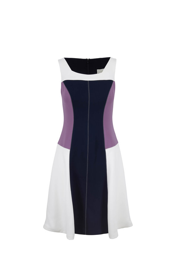 Donald Deal Navy & Purple Color-Block Sleeveless Dress