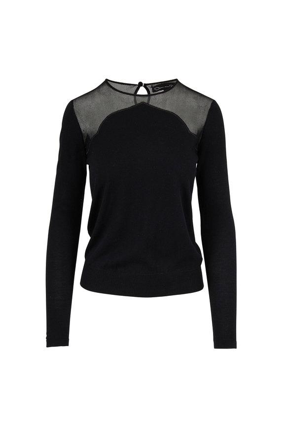 Oscar de la Renta Black Wool & Silk Illusion Sweater