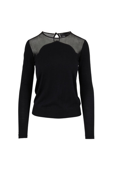 Oscar de la Renta - Black Wool & Silk Illusion Sweater