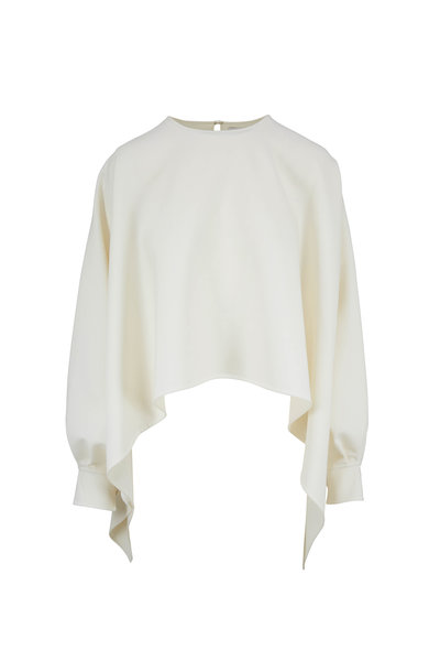 Oscar de la Renta - Ivory Stretch Wool Long Sleeve Cape