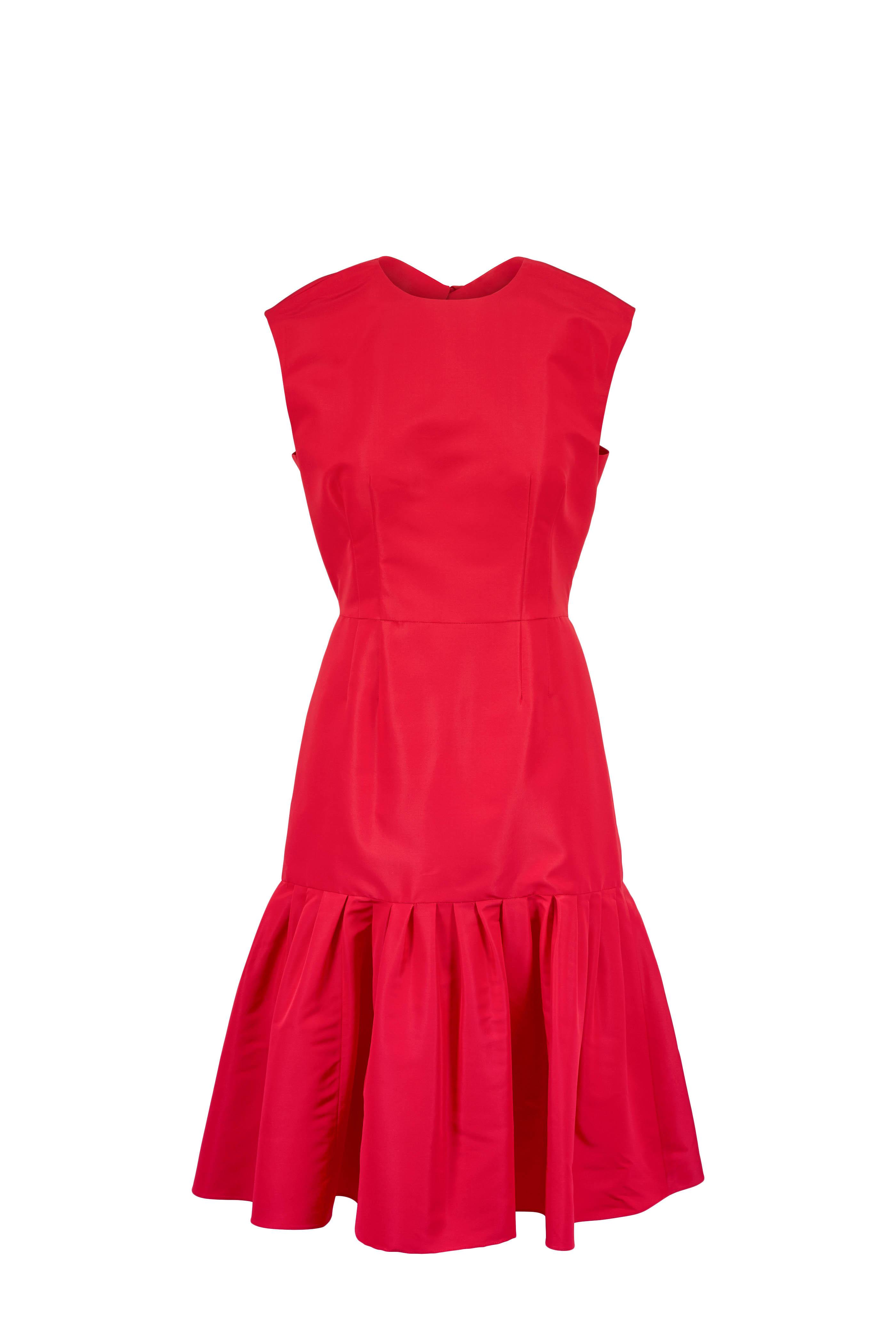 a6621ac43f046 Carolina Herrera - Caro Red Silk Keyhole Cap Sleeve Dress   Mitchell ...