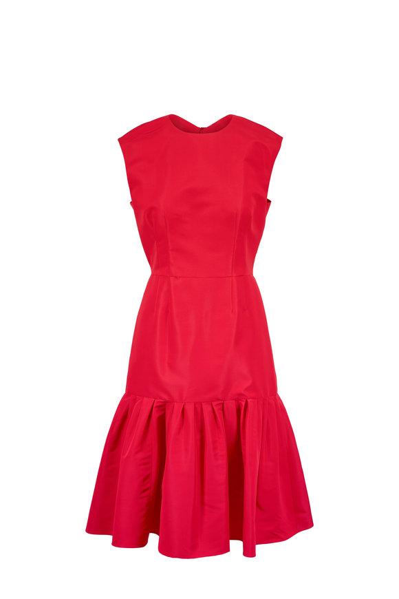 Carolina Herrera Caro Red Silk Keyhole Cap Sleeve Dress