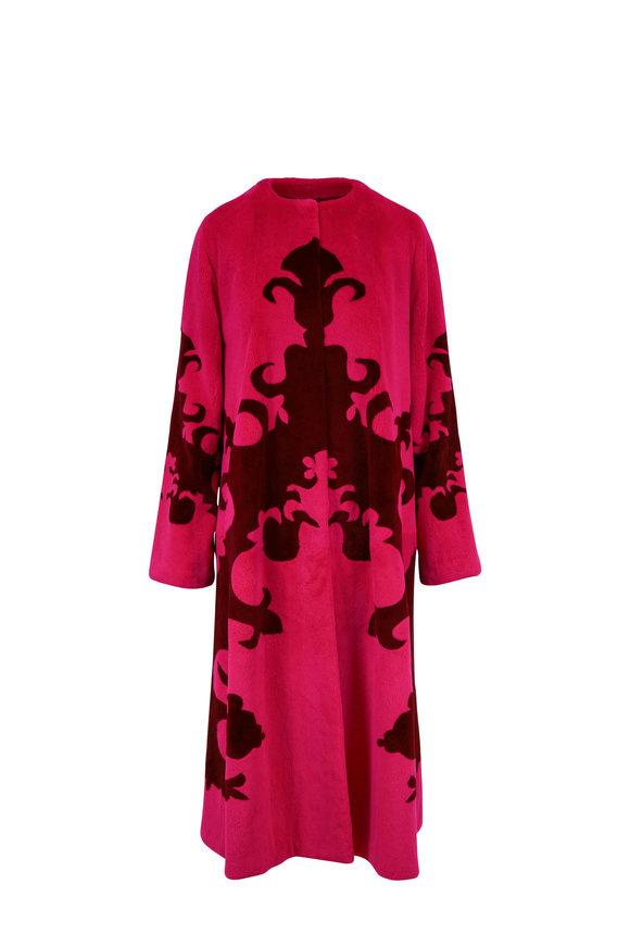Oscar de la Renta Furs Hot Pink & Claret Sheared Mink Coat