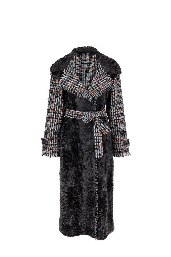 Oscar de la Renta Furs Persian Lamb & Alpaca Bouclé Belted Coat