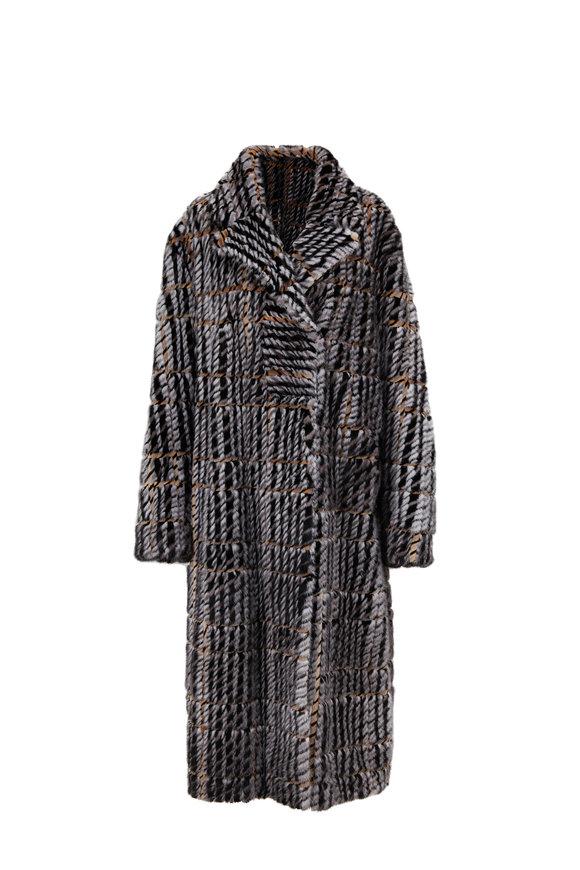 Oscar de la Renta Furs Silver & Sapphire Houndstooth Intarsia Mink Coat