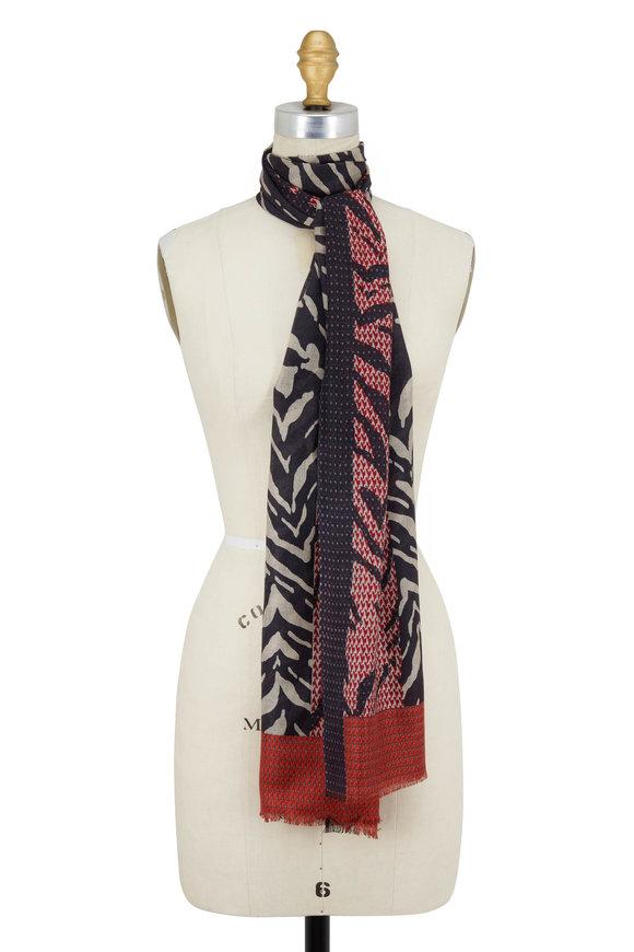 Kinross Garnet Multi Zebra Print Cashmere & Silk Scarf