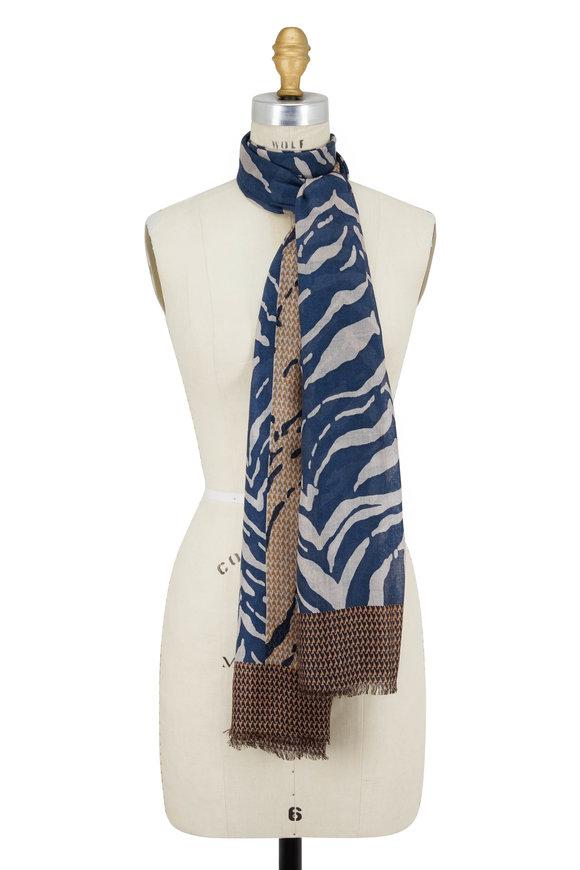 Kinross Winter Teal Multi Zebra Cashmere & Silk Scarf