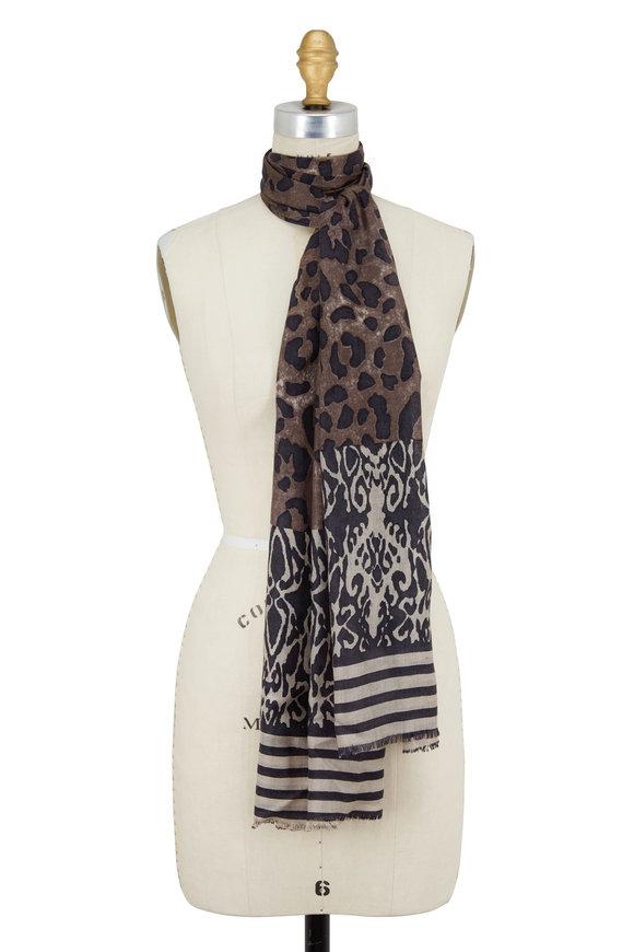 Kinross Suede Multi Leopard Ikat Cashmere & Silk Scarf