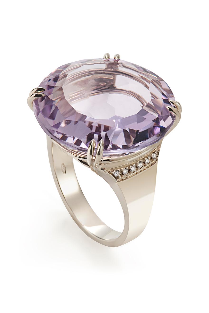 Noble Gold Amethyst Diamond Cobblestones Ring