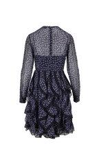 Fendi - Navy Silk Lace Inset Long Sleeve Dress