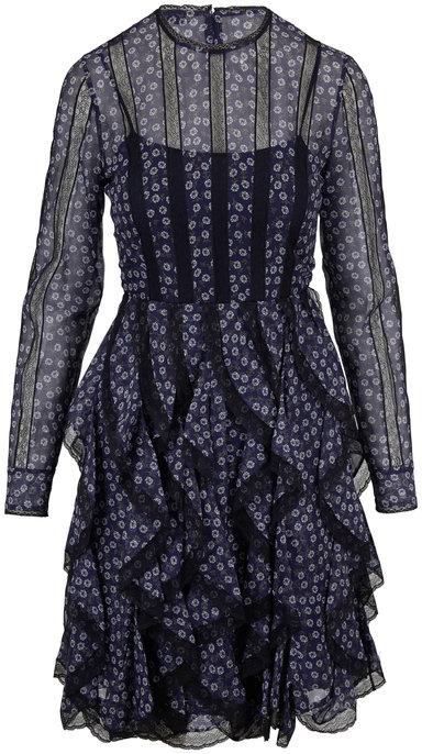 Fendi Navy Silk Lace Inset Long Sleeve Dress