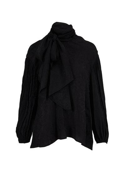 Chloé - Black Tonal Floral Jacquard Tie-Neck Blouse