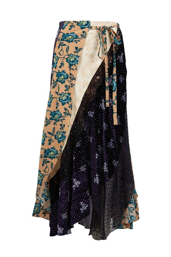 Chloé Beige & Blue Mixed Media Silk Flower Print Skirt