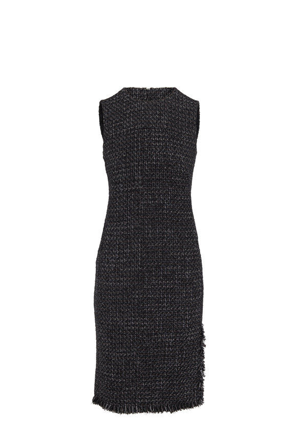 Akris Punto Black & Ivory Tweed Fringed Sleeveless Shift Dress
