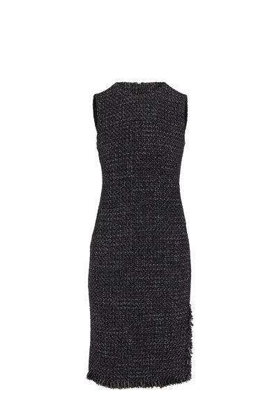 Akris Punto - Black & Ivory Tweed Fringed Sleeveless Shift Dress