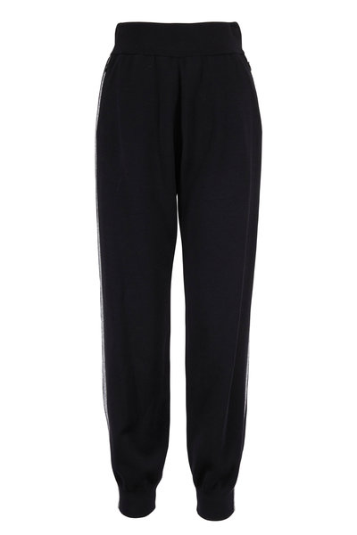 Akris Punto - Hose Black Metallic Tux Striped Pull-On Pant