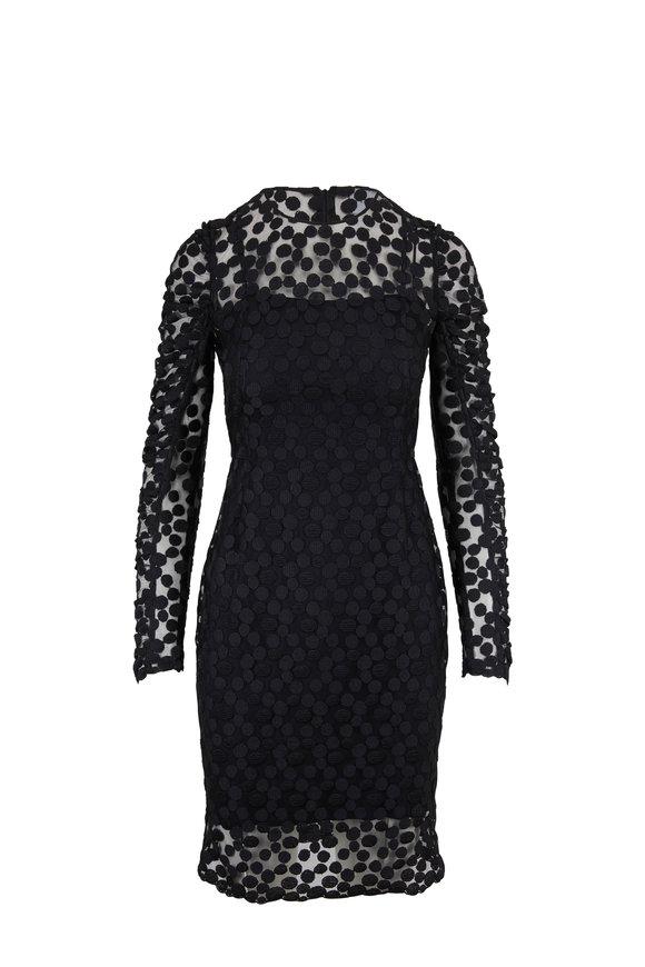 Akris Punto Black Tulle Dot Embellished Ruffle-Sleeve Dress
