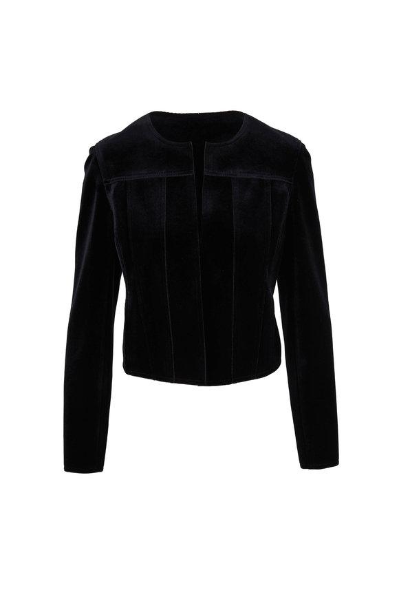 Akris Punto Black Scuba Velvet Collarless Short Jacket