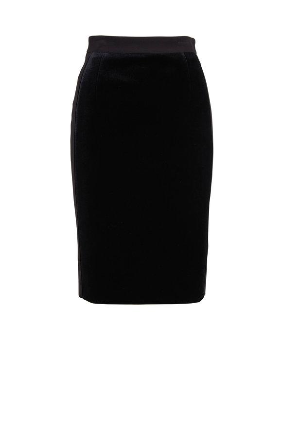 Akris Punto Black Scuba Velvet Pencil Skirt