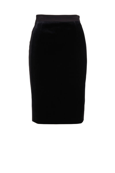 Akris Punto - Black Scuba Velvet Pencil Skirt