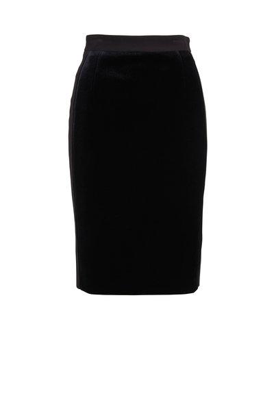 Akris Punto - Black Scuba Velvet Pencil Skirt