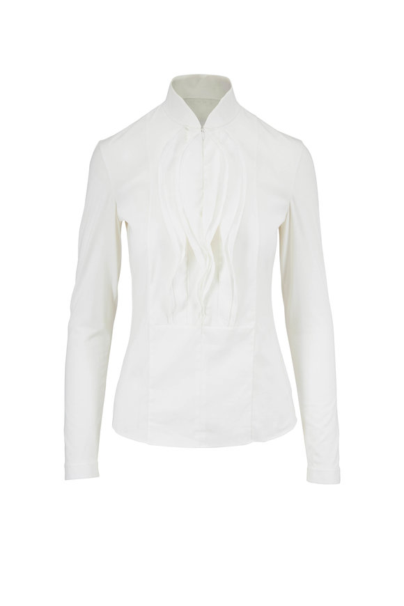 Akris Punto Off-White Cotton & Jersey Front Ruffle Shirt