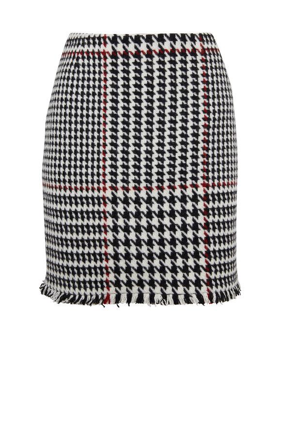 Akris Punto Black & White & Ruby Houndstooth Mini Skirt