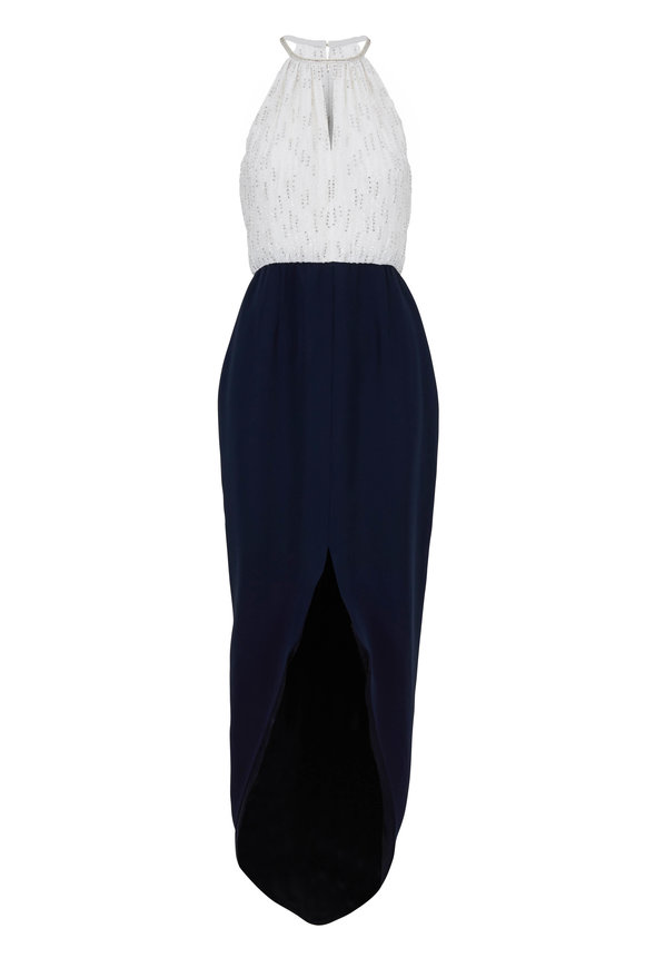 Donald Deal Navy & White Embellished Halter Gown