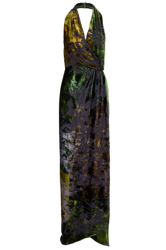 Oscar de la Renta Juniper Multi Burn Out Velvet Halter Gown