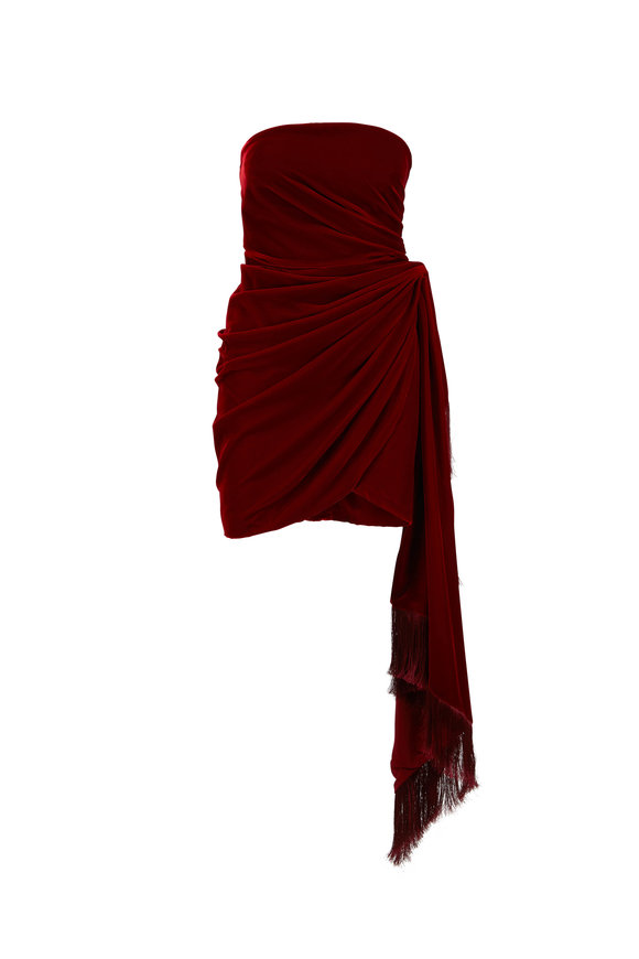 Oscar de la Renta Bordeaux Velvet Strapless Mini Cocktail Dress