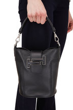 Tod's - Double T Black Leather Small Bucket Crossbody Bag