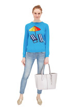 Chinti & Parker - Turquoise Beach Chair & Umbrella Cashmere Sweater