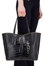 Tod's - Bauletto Black Glossy Embossed Leather Small Tote