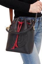 Fendi - Mon Tresor Black Perforated Logo Grande Bucket Bag