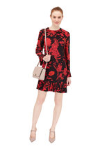 Valentino - Black & Red Silk Floral Print Voulant Dress