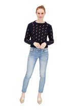 Chloé - Navy Horse Embroidered Tie-Back Sweater