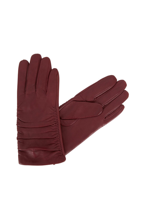 Adrienne  Wine Ruched Wrist Leather Gloves