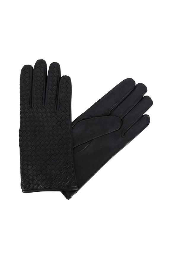 Adrienne  Black Woven Leather Gloves