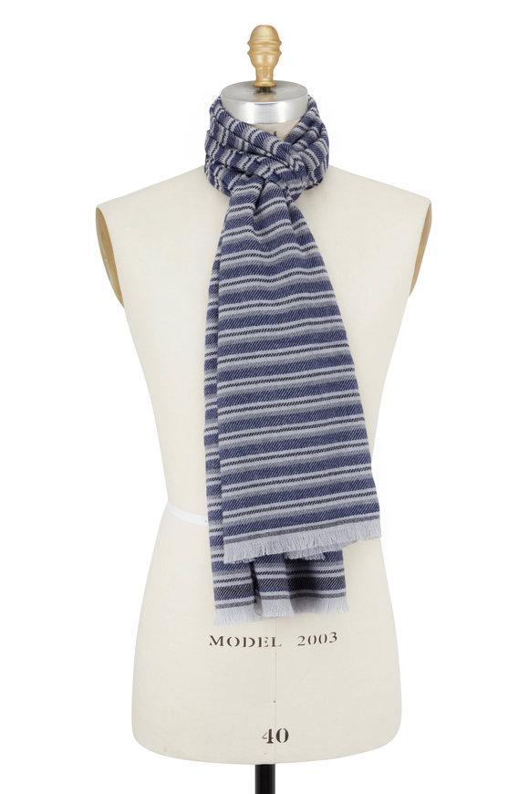 Ermenegildo Zegna Blue & Gray Stripe Wool & Cashmere Scarf