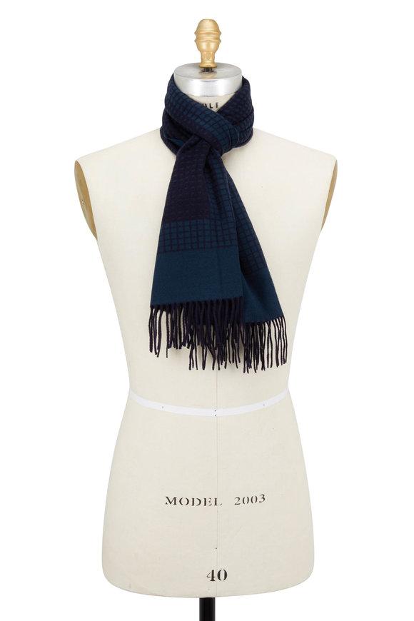Ermenegildo Zegna Brown & Blue Geometric Silk Scarf