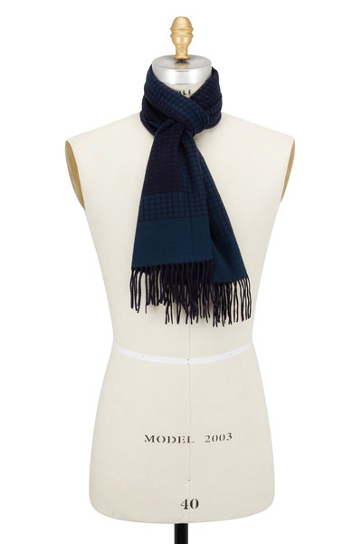 Ermenegildo Zegna - Brown & Blue Geometric Silk Scarf